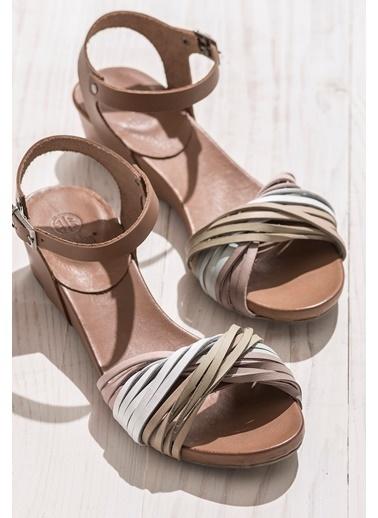 Elle Deri Sandalet Renkli